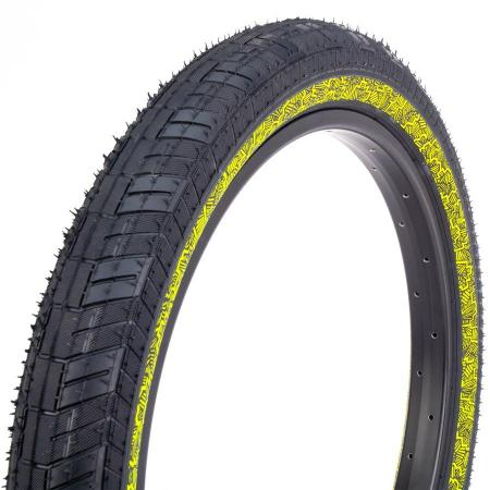 Fiction Atlas 2.4 Black with Night Moves Reflective Yellow BMX Tire